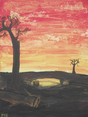 Art Print featuring the painting Sunrise Or Sunset by Martin Blakeley