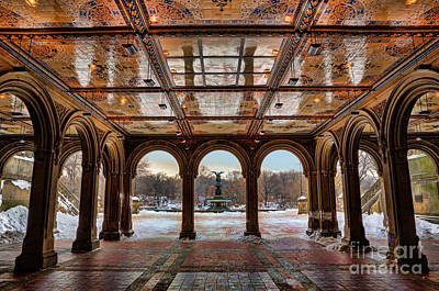 Photograph - Sunrise Over Bethesda Terrace Lower Passage by Lee Dos Santos