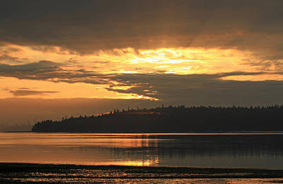 Photograph - Sunrise Over Blake Island by E Faithe Lester