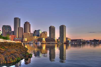 Boston Harbor Photograph - Sunrise Over Boston Harbor by Joann Vitali