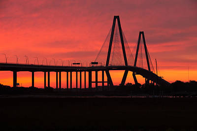 Photograph - Sunrise Over Charleston - Arthur Ravenel Jr. Bridge by Bernard Chen