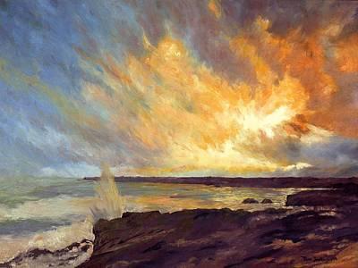 Sunrise Over Water Painting - Sunrise Over Depoe Bay by Tom Joslin