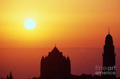 Sunrise Over Jerusalem Art Print by Thomas R Fletcher