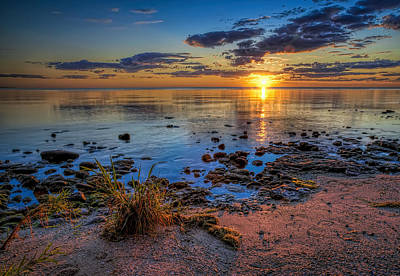 Blue Photograph - Sunrise Over Lake Michigan by Scott Norris