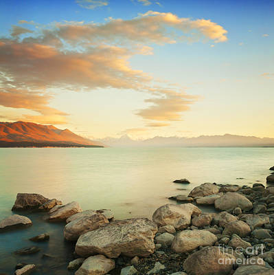Photograph - Sunrise Over Lake Pukaki New Zealand by Colin and Linda McKie