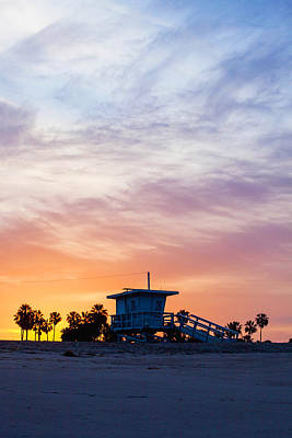 Digital Watercolor Photograph - Sunrise Over Venice Beach by Art Block Collections