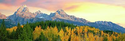 Sunrise Over Mountain Range, Teton Art Print by Panoramic Images