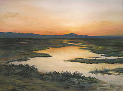 Painting - Sunrise Over Oakland Hills by Martha J Davies