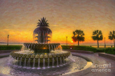 Digital Art - Sunrise Over Pinapple Fountain by Dale Powell