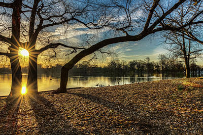 Sunrise Over Prospect Park Lake Art Print by F. M. Kearney