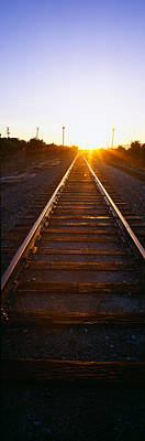 Train Tracks Photograph - Sunrise Over Railroad Tracks by Panoramic Images