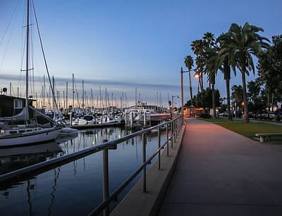 Dock Photograph - Sunrise Over Santa Barbara Marina by Tom Mc Nemar