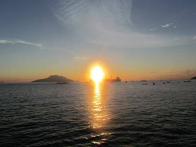 Sunrise Over Ship Art Print