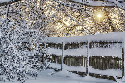Photograph - Sunrise Over Snowy Fence by Jason Politte