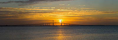 Sunshine Skyway Bridge Wall Art - Photograph - Sunrise Over Sunshine Skyway Bridge by Panoramic Images