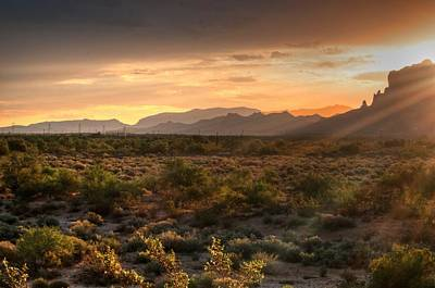 Photograph - Sunrise Over Superstition Mountain by Tam Ryan