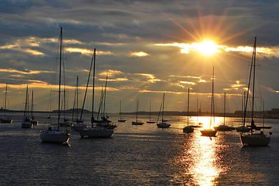 Sun Rays Digital Art - Sunrise Over The Boston Harbor by Toby McGuire