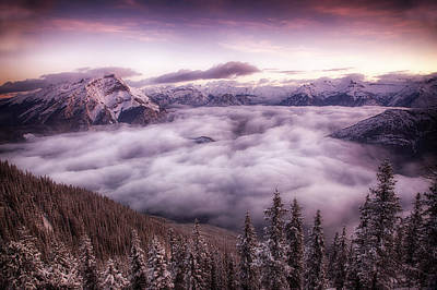 Sunrise Over The Canadian Rockies Art Print