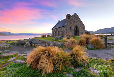 New Zealand Photograph - Sunrise Over The Church Of The Good Sheperd by Bill  Robinson