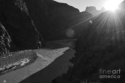 Photograph - Sunrise Over The Colorado River Along Bright Angel Trail Grand Canyon National Park Black And White by Shawn O'Brien