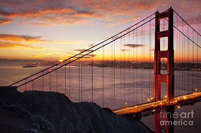Photograph - Sunrise Over The Golden Gate Bridge by Brian Jannsen
