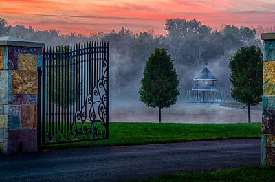 Photograph - Sunrise Over The Pond And Gazebo by Gene Sherrill