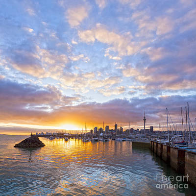 Sunrise Over Westhaven Marina Auckland New Zealand Print by Colin and Linda McKie