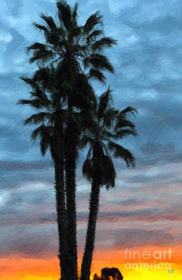 Painting - Sunrise Palms by David Millenheft