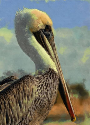 Pelican Digital Art - Sunrise Pelican by Ernie Echols