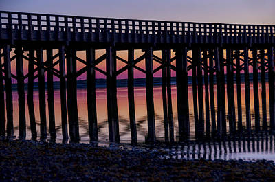 Dock Photograph - Sunrise Pier Reflection by Donna Doherty