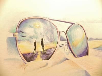 Sea Glass Drawing - Sunrise by Ramonita Badillo