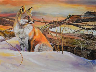 Barking Painting - Sunrise Red Fox by Alvin Hepler