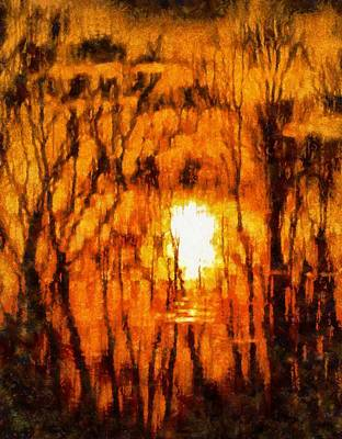 Ohio Painting - Sunrise Reflections by Dan Sproul