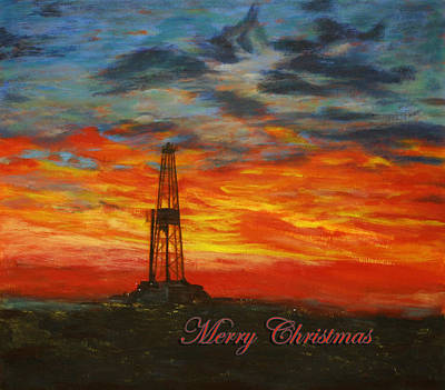 Sunrise Rig- Merry Christmas 2 Art Print by Karen  Peterson