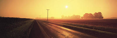 Telephone Poles Photograph - Sunrise Road Maryland Usa by Panoramic Images