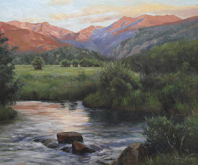Stream Painting - Sunrise Rocky Mountain National Park by Anna Rose Bain