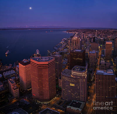 Sunrise Seattle Moonglow Art Print by Mike Reid