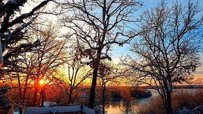Photograph - Sunrise Snow And Ice by Cindy Croal