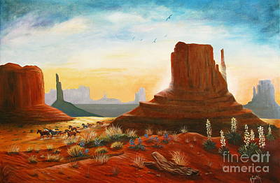 Southwest Landscape Painting - Sunrise Stampede by Marilyn Smith