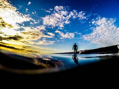 Sunrise Surfer Art Print by David Alexander