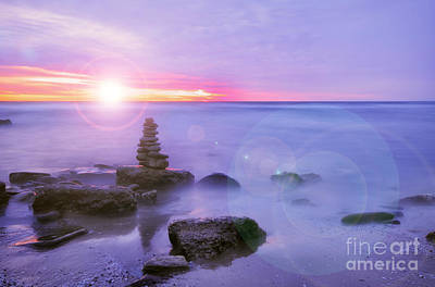 Inukshuk Photograph - Sunrise Through Clouds by Charline Xia