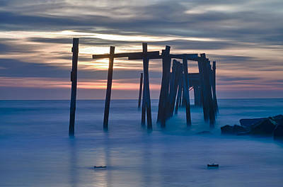 Photograph - Sunrise Through The 59th Street Pier In Ocean City Nj by Victoria Porter
