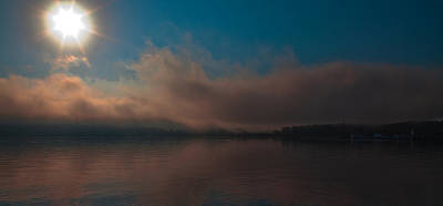 Photograph - Sunrise Through The Fog On Lake George by David Patterson