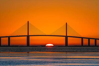 Sunshine Skyway Bridge Wall Art - Photograph - Sunrise Through The Skyway Bridge by Jeff Donald