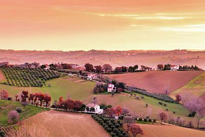 Photograph - Sunrise Tuscany Vineyard by Deimagine