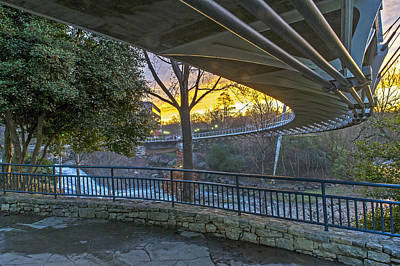 Sunrise Under Liberty Bridge At Falls Park Greenville Sc Art Print