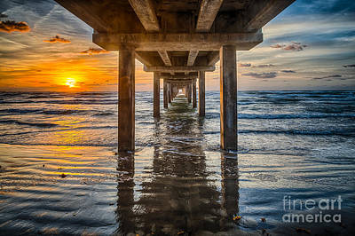 Sand Photograph - Sunrise Under The Pier by Tod and Cynthia Grubbs