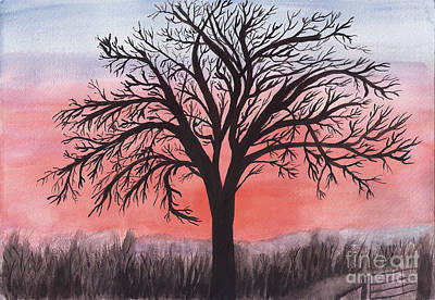 Painting - November Sunrise Walnut Tree Watercolor by Conni Schaftenaar