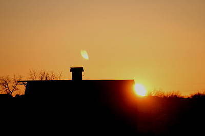 Photograph - Sunrise With Barn by Trent Mallett