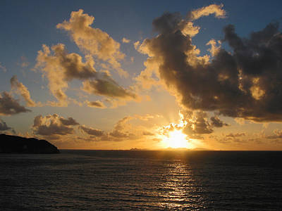 Photograph - Sunrise With Clouds St. Martin by Susan Savad